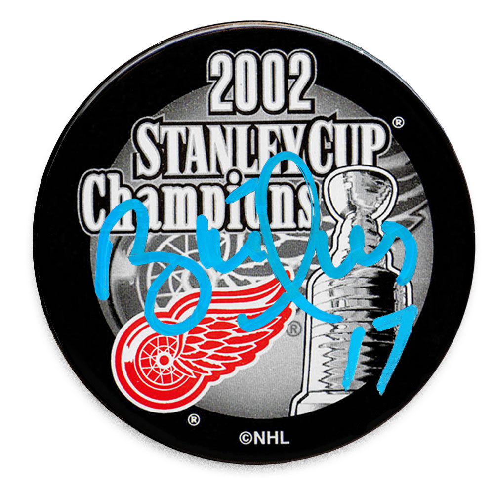 Brett Hull Detroit Red Wings 2002 Stanley Cup Champions Autographed Puck