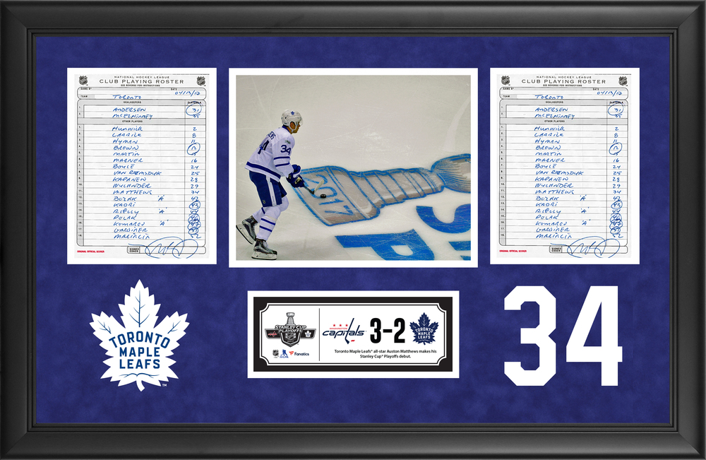 Toronto Maple Leafs Framed Original Line-Up Cards From April 13, 2017 vs. Washington Capitals - Auston Matthews Stanley Cup Playoffs Debut