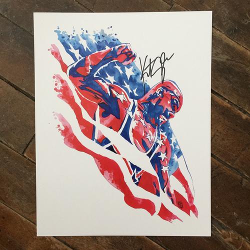 Kurt Angle SIGNED 11 x 14 Rob Schamberger Print