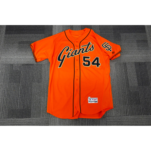 Photo of San Francisco Giants - 2017 Game-Used Orange Alt Jersey - worn by #54 Reyes Moronta on 9/29/17 - (Size: 50)