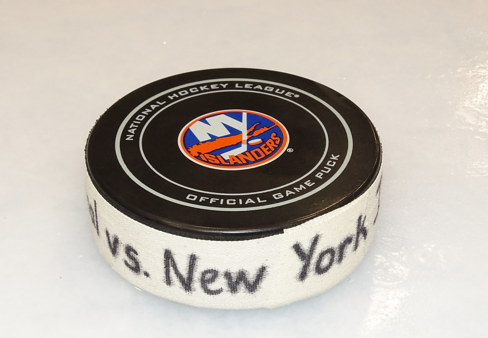 Jordan Eberle - Game Used Goal Puck - 2017-18 Season- New York Islanders