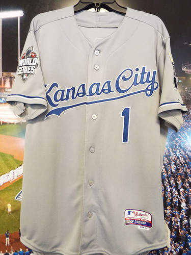 Photo of Club Issued Jarrod Dyson Grey 2015 World Series Jersey