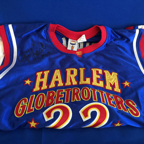 Photo of UMPS CARE AUCTION: Harlem Globetrotters Signed Curly Neal Jersey with Headband and Wristbands