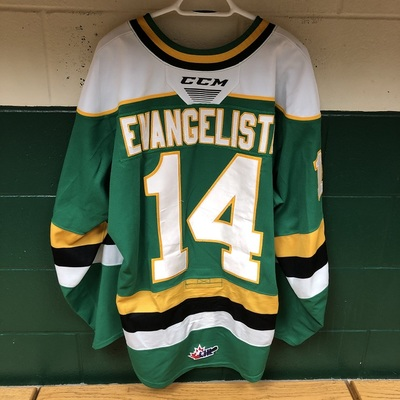 Luke Evangelista 2019-2020 Green Game Jersey