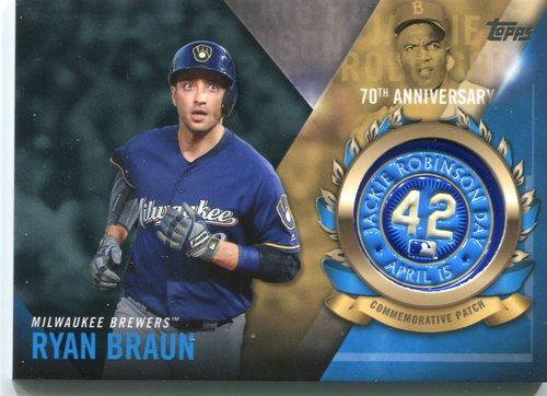 Photo of 2017 Topps Jackie Robinson Logo Patches #JRPCRB Ryan Braun
