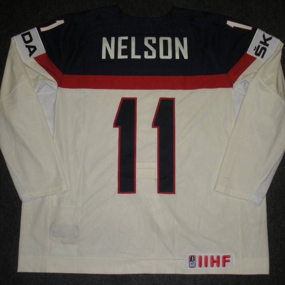 Brock Nelson - 2014 IIHF Mens World Championship - Team USA White Game-Worn Jersey - Worn on 5/9/14, 5/15/14 and 5/20/14