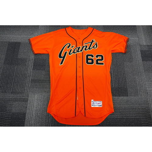 Photo of San Francisco Giants - 2017 Game-Used Orange Alt Jersey - worn by #62 Cory Gearrin on 9/29/17 - (Size: 46)