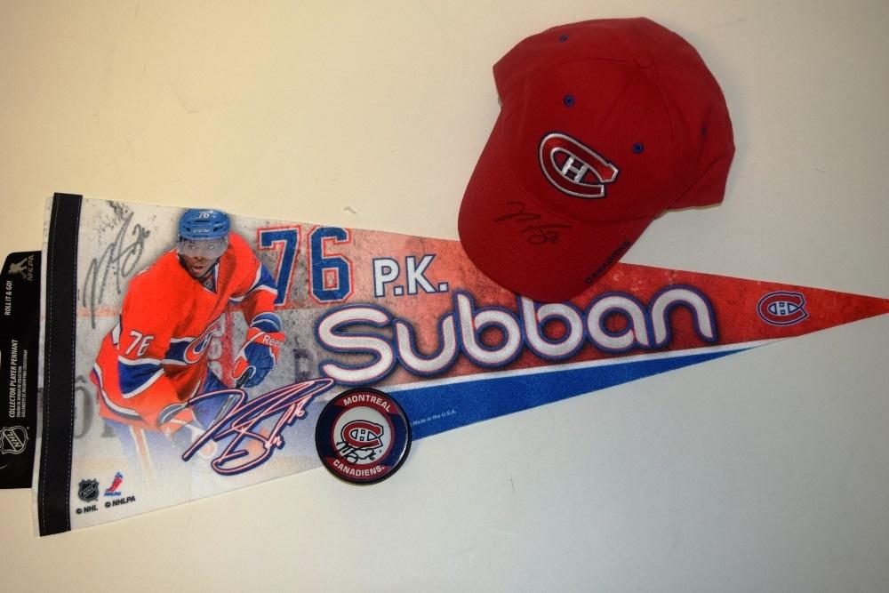 Fanion, casquette et rondelle autographiés par P.K. Subban | P.K. Subban autographed pennant, cap and puck