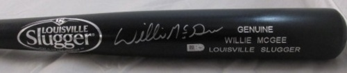 Photo of Willie McGee Autographed Black Louisville Slugger Bat