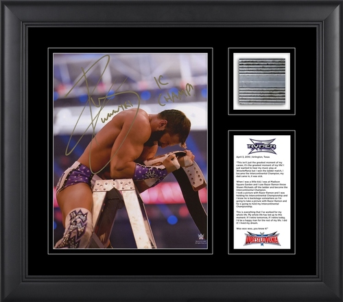 Photo of Zack Ryder SIGNED WrestleMania 32 Commemorative Used Ladder Piece Photo Frame