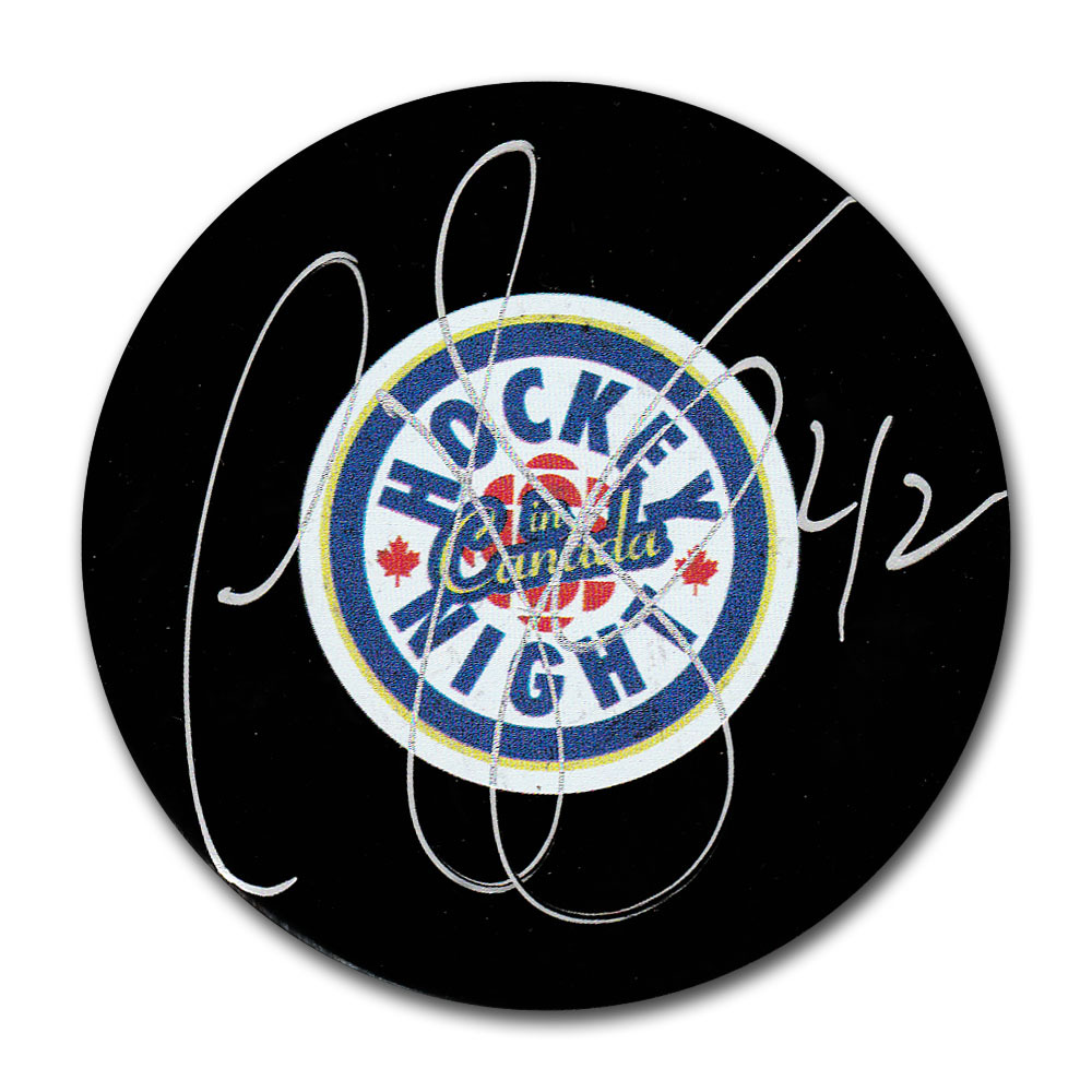 P.J. Stock Autographed Hockey Night in Canada Puck