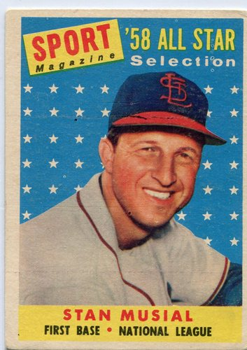 Photo of 1958 Topps #476 Stan Musial All-Star -- Cardinals Hall of Famer