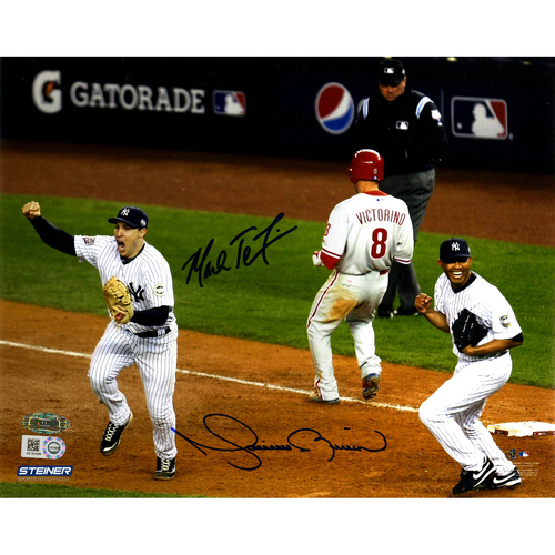 Photo of Mark Teixeira & Mariano Rivera Dual Signed 2009 World Series Final Out 8x10 Photo (MLB Auth)