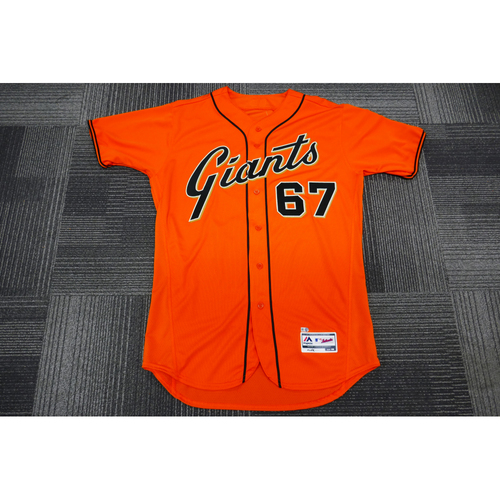 Photo of San Francisco Giants - 2017 Game-Used Orange Alt Jersey - worn by #67 Roberto Gomez on 9/29/17 - (Size: 46)