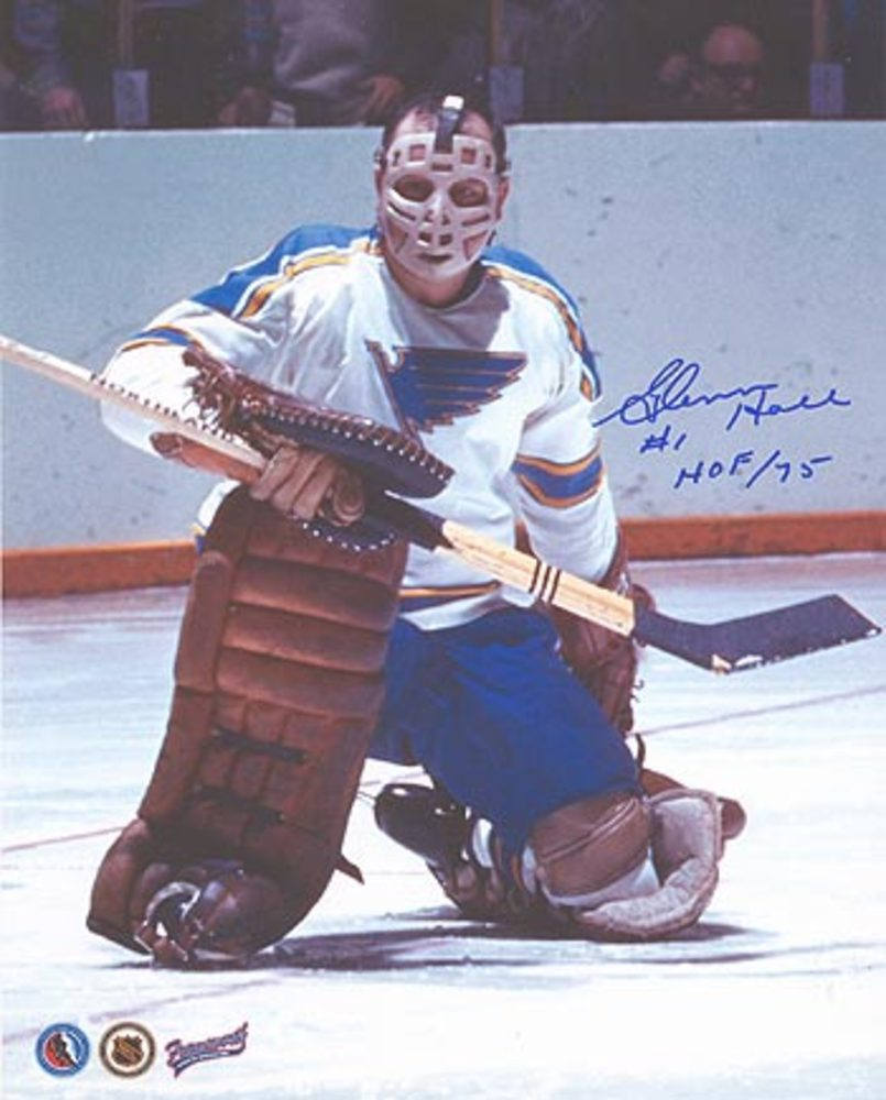 GLENN HALL St. Louis Blues MASK SIGNED 8x10 Photo
