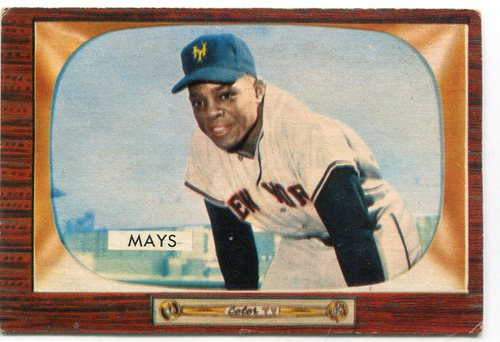 Photo of 1955 Bowman #184 Willie Mays -- Giants Hall of Famer
