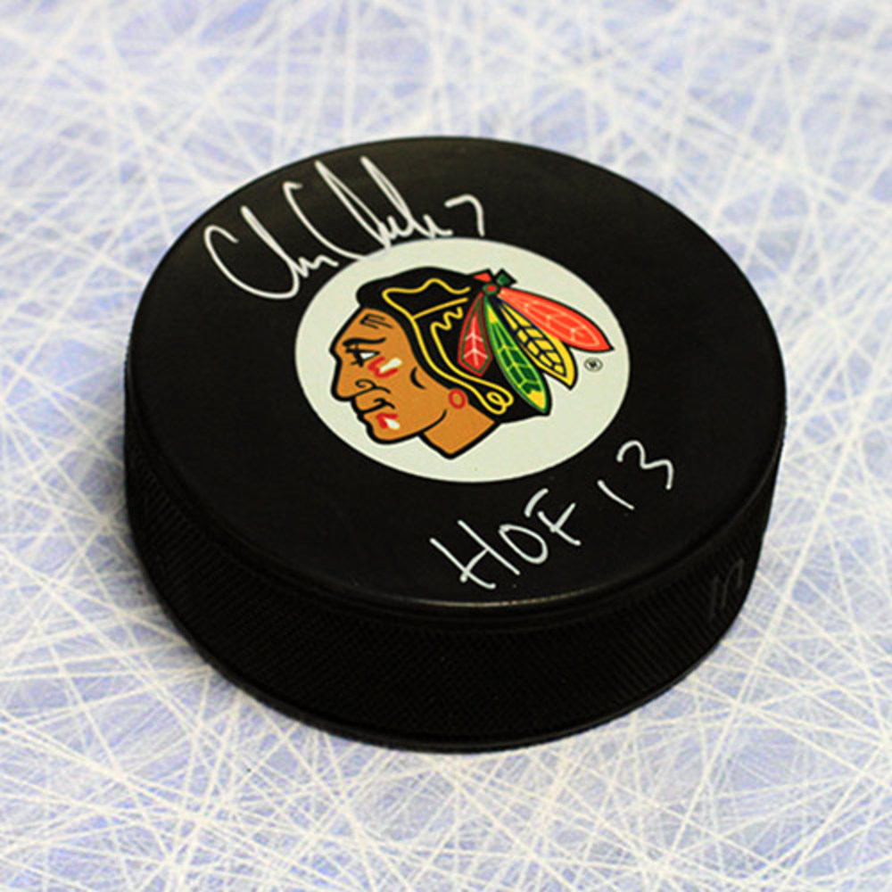 Chris Chelios Chicago Blackhawks Autographed Hockey Puck with HOF Note