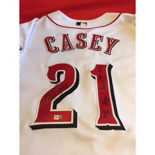 Photo of Sean Casey Autographed Jersey From Reds Opening Day Parade & Block Party