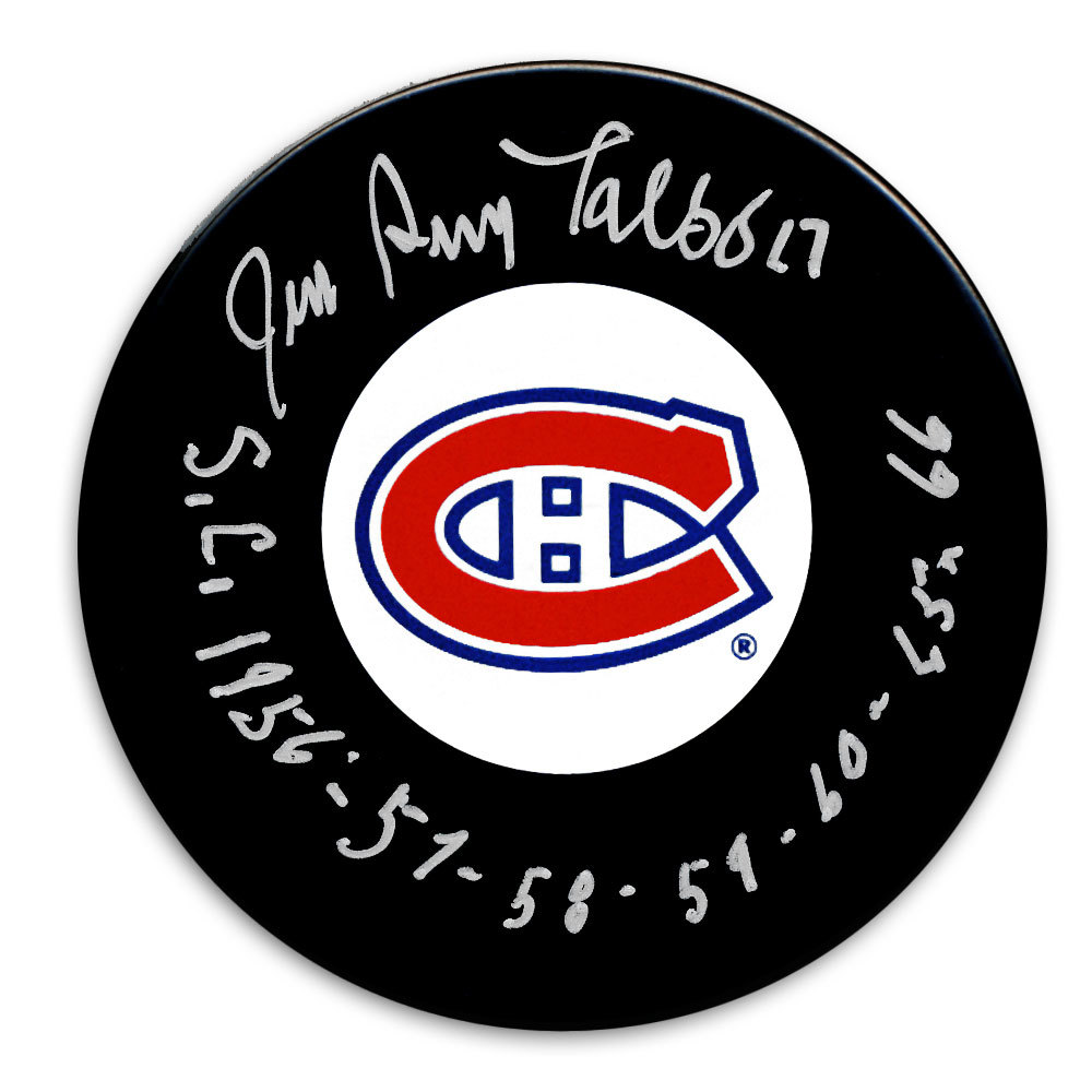 Jean Guy Talbot Montreal Canadiens SC Years Autographed Puck