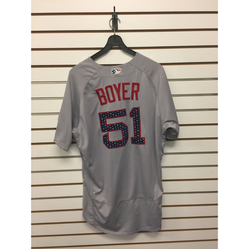 Photo of Blaine Boyer Game-Used July 4, 2017 Stars and Stripes Jersey