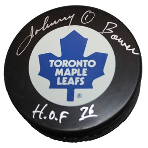 Johnny Bower Autographed Toronto Maple Leafs Puck
