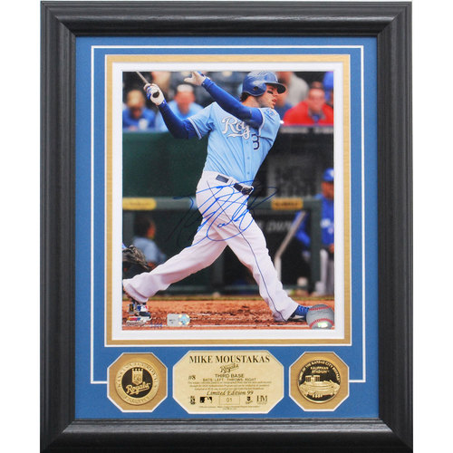 Photo of Serial #1! Mike Moustakas Autographed Gold Coin Photo Mint