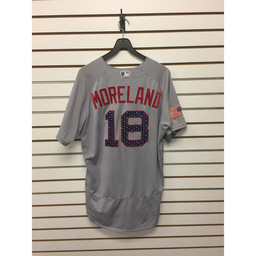 Photo of Mitch Moreland Game-Used July 4, 2017 Stars and Stripes Jersey