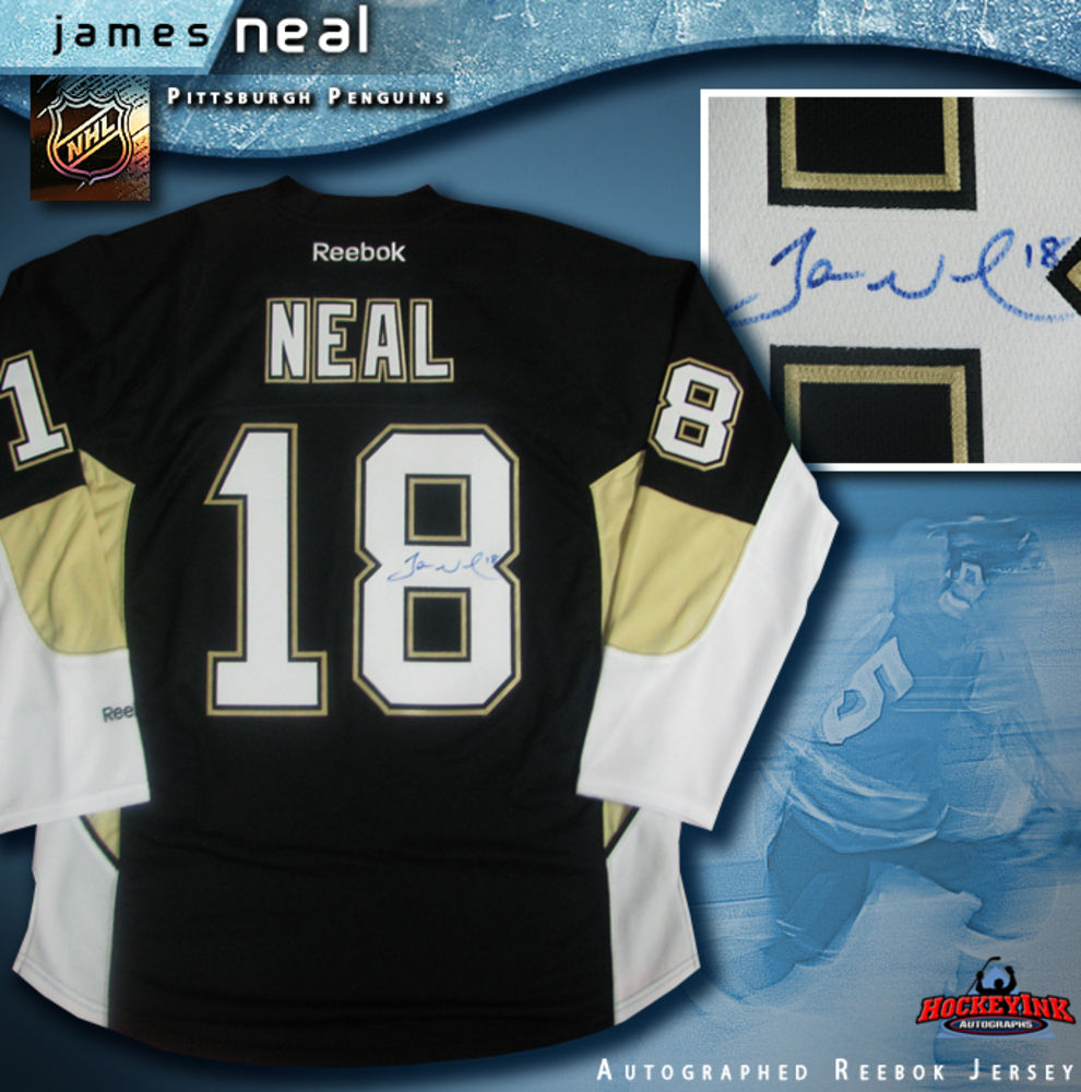 JAMES NEAL Signed Pittsburgh Penguins Black Reebok Jersey