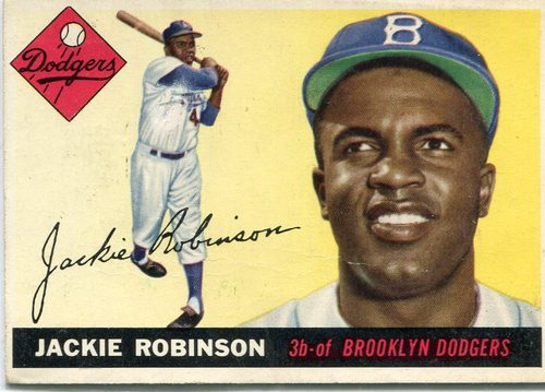 Photo of 1955 Topps #50 Jackie Robinson -- iconic Dodgers Hall of Famer