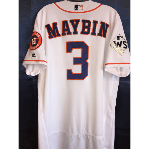 Photo of 2017 World Series Game 4 - Cameron Maybin Game-Used Home Jersey