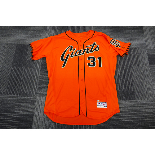 Photo of San Francisco Giants - 2017 Game-Used Orange Alt Jersey - worn by #31 Hensley Meulens on 9/29/17 - (Size: 50)