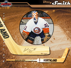 BILLY SMITH Signed Northland Goalie Stick Inscribed 4x Cups - New York Islanders
