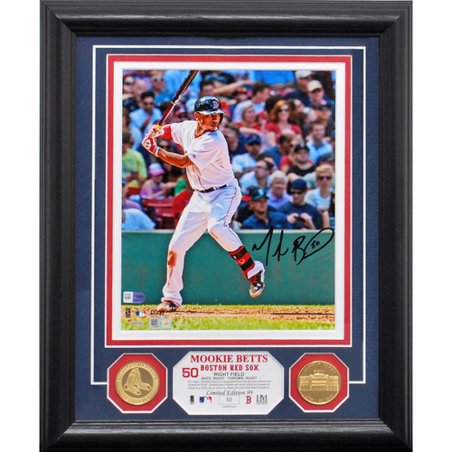 "Photo of Serial #50! Mookie Betts ""Batting"" Autographed Gold Coin Photo Mint"