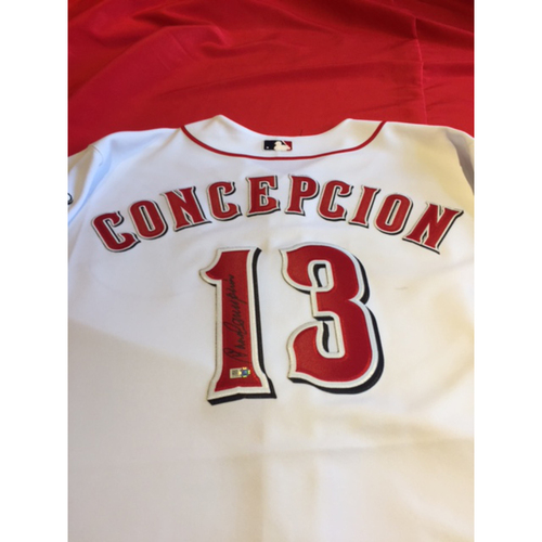 Photo of Dave Concepcion Autographed Jersey From Reds Opening Day Pre-Game Ceremonies