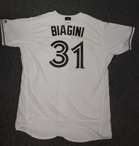 Photo of Authenticated Game Used Memorial Day Jersey - #31 Joe Biagini