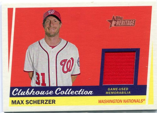 Photo of 2016 Topps Heritage Clubhouse Collection Relics Max Scherzer -- Nationals post-season