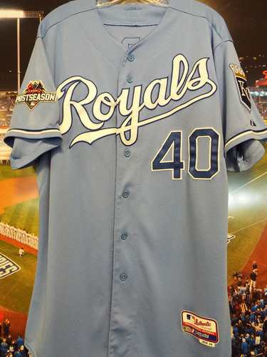 Photo of Club Issued Kelvin Herrera Powder Blue 2015 Postseason Jersey