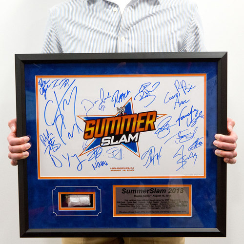 SummerSlam 2013 Signed Plaque with piece of USED Ring Rope