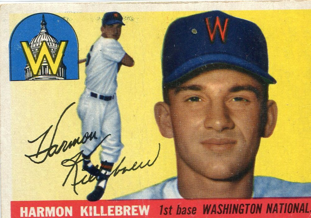 1955 Topps #124 Harmon Killebrew Rookie Card -- Senators Hall of Famer
