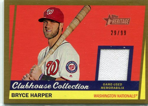 Photo of 2016 Topps Heritage Clubhouse Relic Gold 29/99 Bryce Harper  -- Nationals post-season
