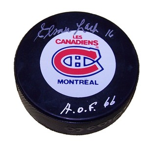 Elmer Lach Autographed Montreal Canadians Puck
