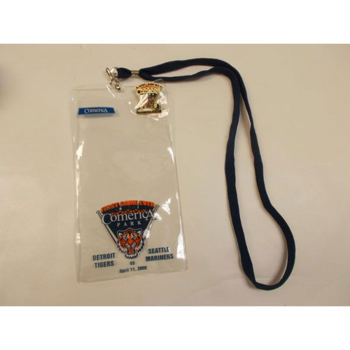 Photo of First Game at Comerica Park Ticket Lanyard and Lapel Pin