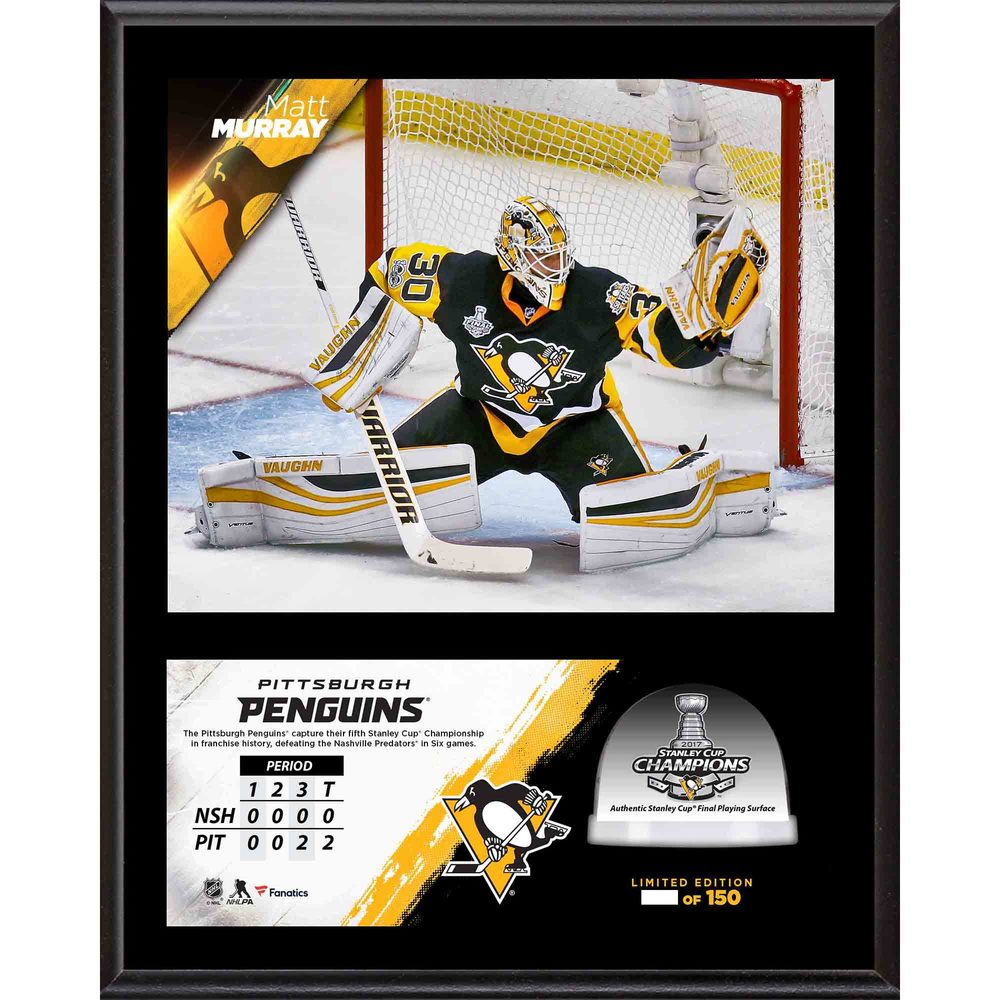 Matt Murray Penguins 2017 Stanley Cup Champions 12'' x 15'' Sublimated Plaque with Game-Used Ice from the Stanley Cup Final - #1 of a L.E. of 100