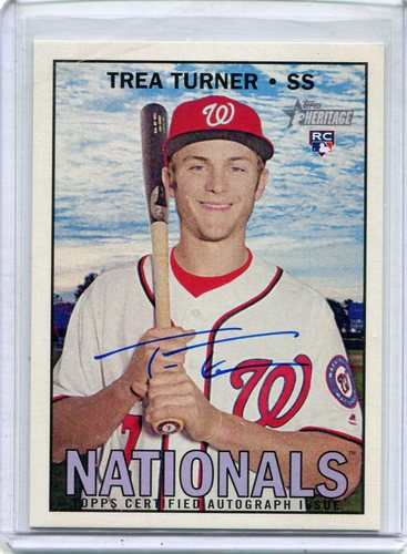 Photo of 2016 Topps Heritage Real One Autographs #ROATTUR Trea Turner -- Nationals post-season