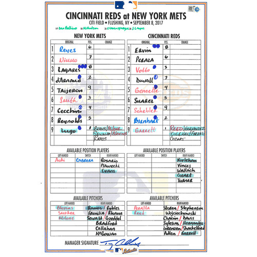 Photo of Game Used Lineup Card - Lugo Start - Travis Taijeron Hits 1st Career HR - Jose Reyes Hits 100th Career HR as a Met - Mets Win 5-1 - Mets vs. Reds - 9/8/17