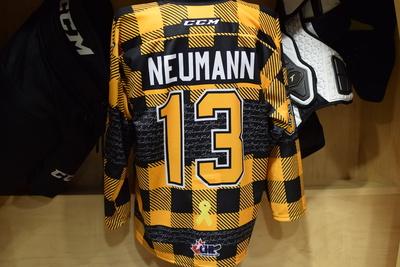 #13 Brett Neumann Game Issued Kingston Frontenacs Hockey Fights Cancer Plaid Jersey