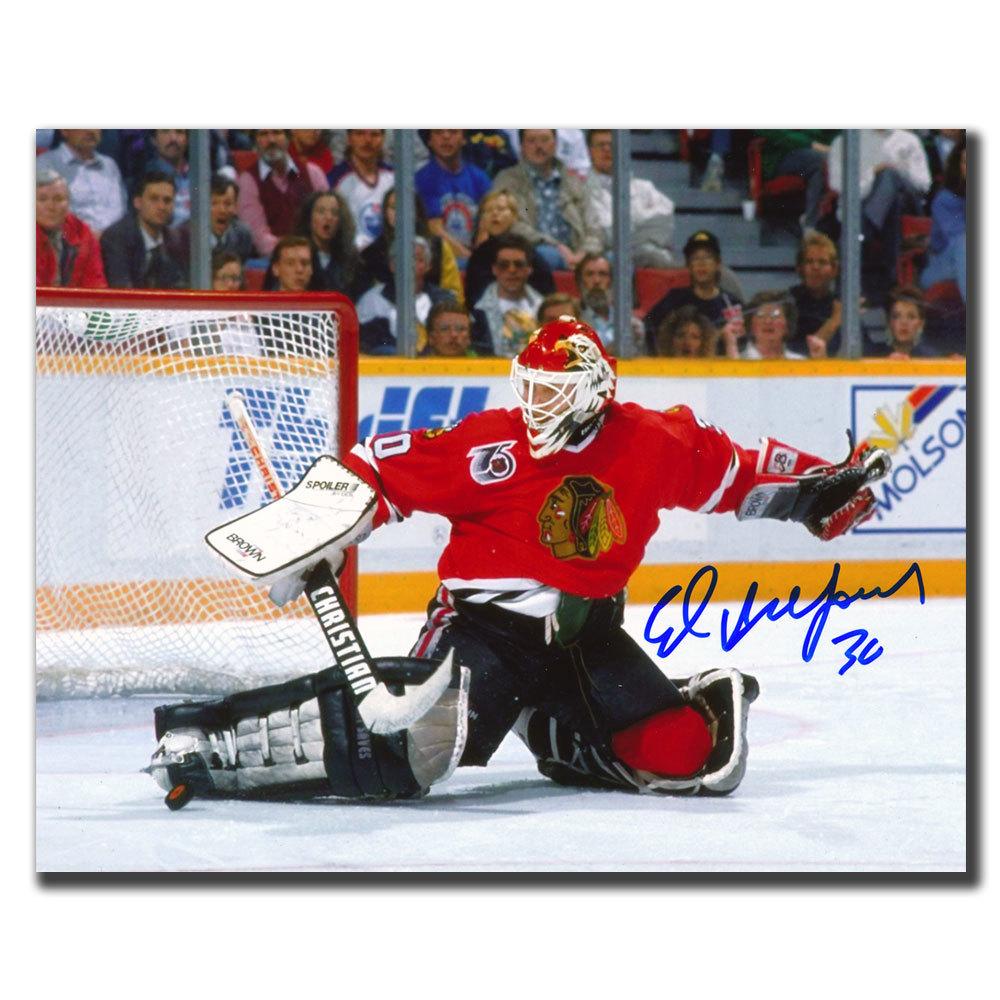 Ed Belfour Chicago Blackhawks Kick Save Autographed 8x10