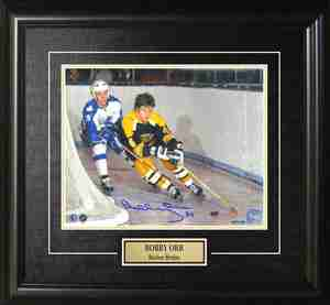 Bobby Orr - Signed & Framed 8x10 Etched Mat - Boston Bruins Behind the Net vs Toronto Maple Leafs