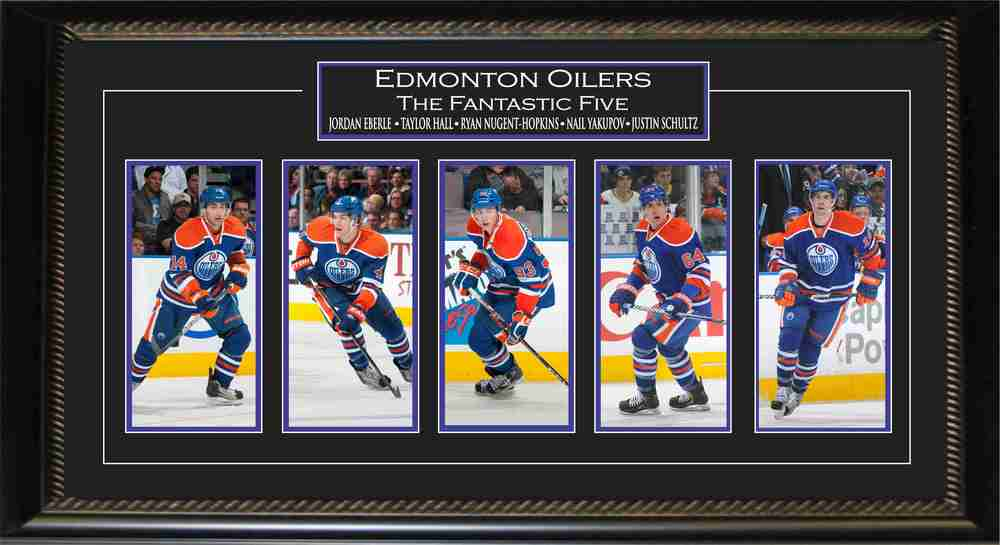Taylor Hall, Jordan Eberle, Ryan Nugent Hopkins, Nail Yakupov, and Justin Schultz - Framed Mini Photos (Fantastic Five)