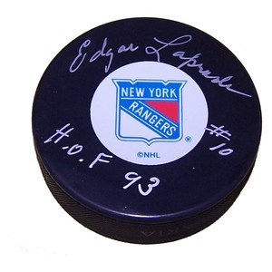 Edgar Laprade (deceased) Autographed New York Rangers Puck